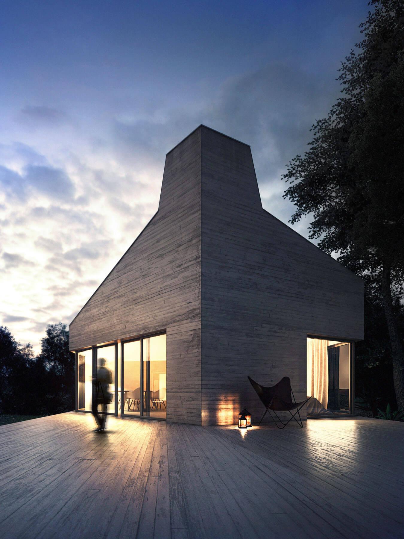 Architektur 3d Visualisierung im Wald. Render Fotorealistisch