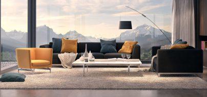 Wohnzimmer Innenvisualisierung. Berge Render Visualisierung